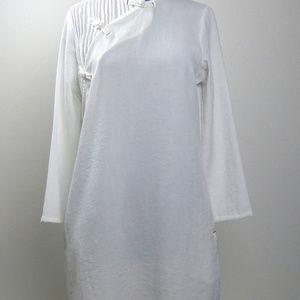 785a144bb8a Cheongsam Dresses - Japanese White Cheongsam Pintucked Linen Cotton